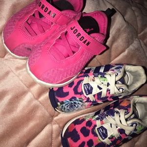 Size 5 Jordan's size(pink) ; 6 adidas (multicolor)